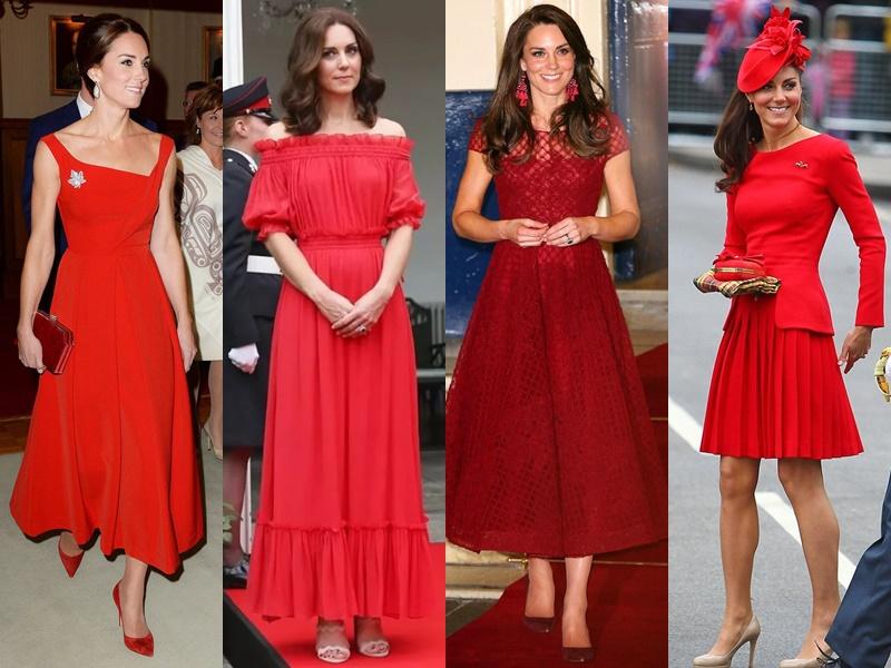 Цвета и оттенки платьев Кейт Миддлтон - красные