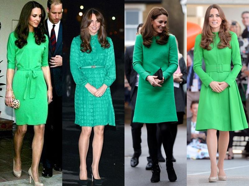 Цвета и оттенки платьев Кейт Миддлтон - яркие зеленые