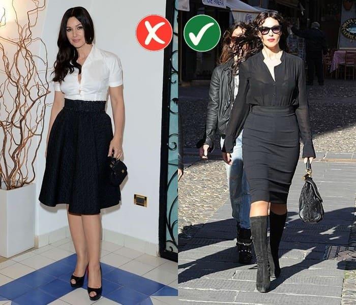 Работа над ошибками: стиль Моники Беллуччи - Юбка «карандаш» вместо юбки «колокол»